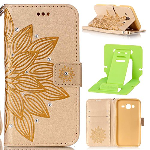 Galaxy J5 2015 Coque Rabat,Housse Samsung Galaxy J5 2015 Bling Bling,Ekakashop Jolie D'or Demi-fleur Strass étoiles Paillettes Brillant Design Bookstyle Portefeuille à Fermeture Wallet Shell de Protec D'or Demi-fleur
