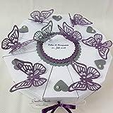 Hochzeitsgeschenk - Schachteltorte m. Schmetterlingen & Herzen - Butterfly WEISS-LILA-GRAU - Geldgeschenk, Geschenkidee Hochzeit