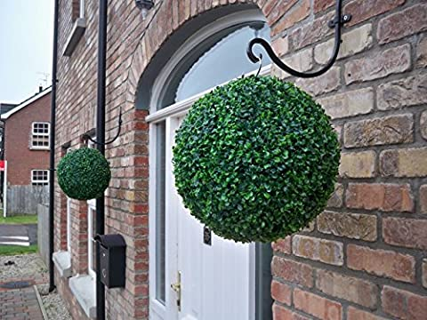 2 Best Artificial 35cm Green Boxwood Buxus Grass Topiary Hanging Balls