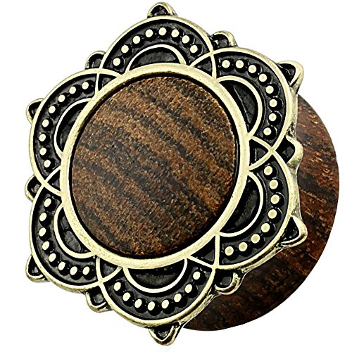 Piersando Ohr Plug Piercing Ear Flesh Tunnel Ohrpiercing Schmuck Ohrplug Vintage Tribal Ethno Lotusblüte Holz Altgold Organic 12mm - N Wärme Cool