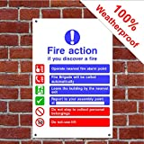 Wenn Sie entdecken eine Fire–Fire Action Schild oder Aufkleber HSE Fire Action FA01 PVC-Aufkleber (Vinyl) A4 200mm x 300mm (approx 8