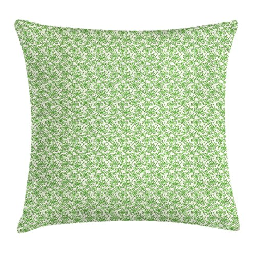 Shamrock Throw Pillow Cushion Cover, Monochrome Blooming Clovers Sketch Style Spring Arrangement Irish Luck, Decorative Square Accent Pillow Case, 18 X 18 Inches, Apple Green and Beige (Spring-sport Irish)