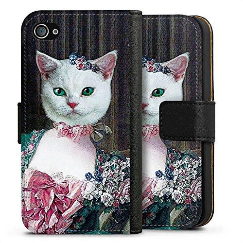 Apple iPhone X Silikon Hülle Case Schutzhülle Kitty Cat Katze Madame Sideflip Tasche schwarz