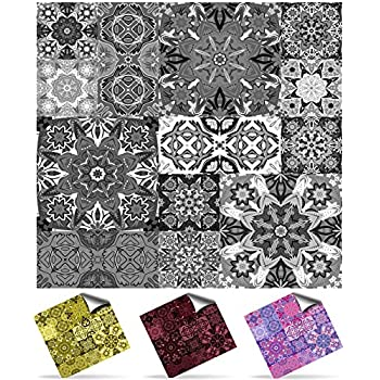 30 Moroccan Greys Self Adhesive Mosaic Wall Tile Decals For