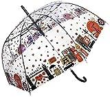 London in blüht transparenten stock durchsichtig Regenschirm