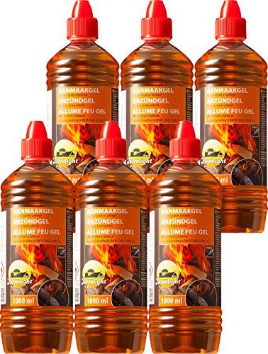 Gel allume-feu pour tous types de charbons – Pâte de combustion 1000 ml – Gel d'allumage liquide pour barbecue et cheminée Sans odeur 6 l