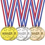 24 Piezas de Medallas de Ganador de Niños Medallas de Premio Dorado Plateado Bronce para Favores Adornos de Fiesta