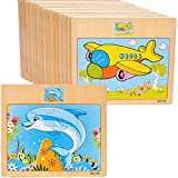 5 Stück Spielzeug aus Holz Chunky Holzpuzzles / Holzpuzzles Pädagogisches Spielzeug Intelligenz Pädagogisches Spielzeug für 2 3 4 5 Jahre alten Mädchen und Jungen
