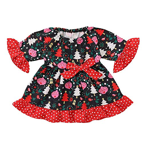 POLP Niño Regalo Navidad Bebe Pijama Rojo Navidad Bebe Disfraz Ropa Invierno Bebe niña Unisex Manga Larga Camiseta Top Vestido de arbol de Navidad 1pc 12messes-4años