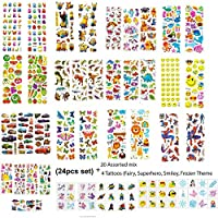 New Celebration 3d Puffy Stickers Tattoos for Kids Birthday Party Bag Fillers Assorted 20 Sheets Stickers 4 Temporary Tattoos Self Adhesive Reusable Party Favours Scrapbook Foam Stickers