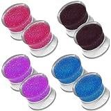 tumundo 2 Pezzi o 2 Set Plug Flesh Tunnel Glitter Piercing Orecchino Orecchini Dilatatore Glamour 6-12mm Acrilico