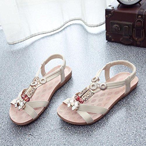 Saingace Mode Frauen Boho Sandalen Leder flache Sandalen Damen Schuhe Beige