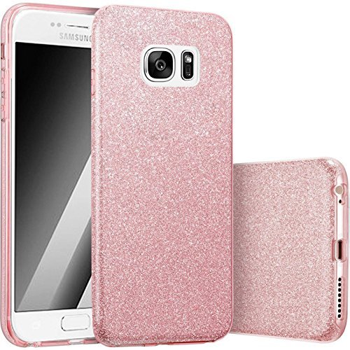 Hot Pink Hard Case (FINOO   Samsung Galaxy S7 Edge Rundum 3 in 1 Glitzer Bling Bling Handy-Hülle   Silikon Schutz-hülle + Glitzer + PP Hülle   Weicher TPU Bumper Case Cover   Pink)