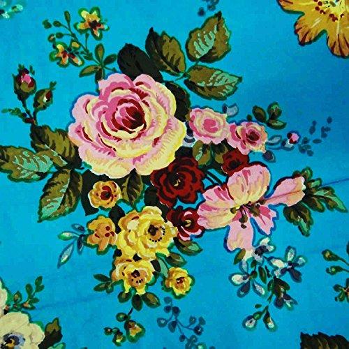 Blauer Blumendruck 100% reiner Baumwolle 43