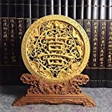 WSZYD Abnehmbare hohlen geschnitzt boxwood große Platte Business-Geschenke chinesischen Stil Ornamente Ornamente ( Color : Symbol of happiness )