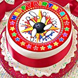 In Bowling Happy Birthday rot 19,1 cm vorgeschnittenen Essbarer Zuckerguss Kuchen Topper Dekoration