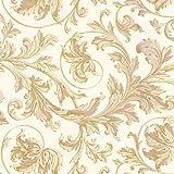 Suttons wrap - Carta regalo con motivo stampato di foglie dorate su sfondo color crema, 5 fogli