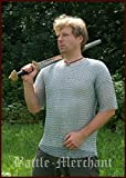 Battle Merchant - Cota de malla de manga corta de vikingo medieval (9 mm, acero galvanizado, talla XL)