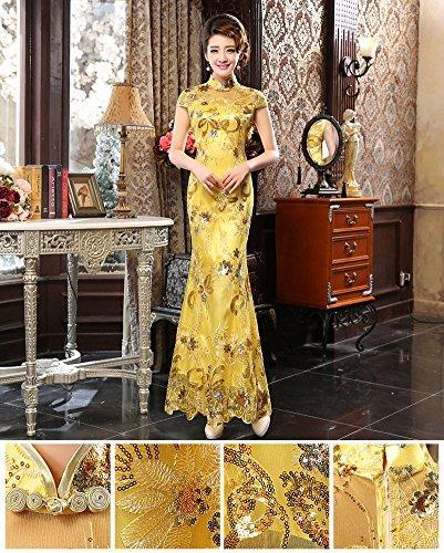 Drasawee Damen Schlauch Kleid Gelb