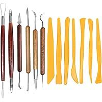 SENHAI - Strumenti per scultura con argilla e terracotta, 6 strumenti con manico in legno per incidere e 7 strumenti in…