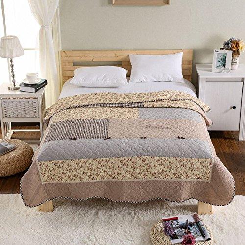 Alicemall Tagesdecke Baumwolle Bettüberwurf 150x200cm Sofa Couch Überwurf Decke Sommerdecke Gesteppt Steppdecke - Elegante Blumen