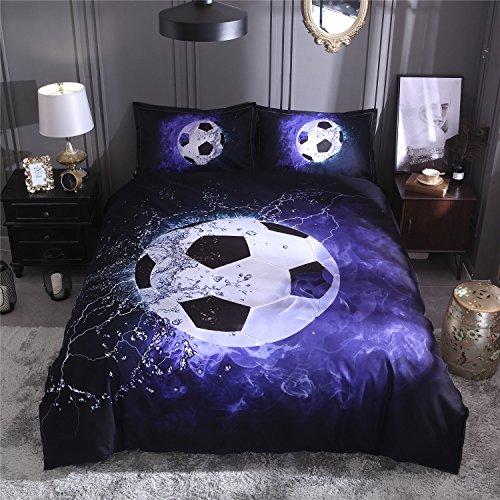 Onlyway Soft Bettbezug Sets Fußball Bettwäsche Sets Bettbezug und Kissenbezug, Multiple, Double size 200*200cm for 1.5M Bed