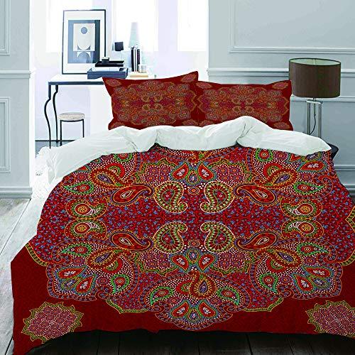 et, Mikrofaser,Mandala-marokkanischer persischer Entwurfs-orientalischer rechteckiger Paisley-Blumendruck,1 Bettbezug 135 x 200cm+ 2 Kopfkissenbezug 80x80cm ()