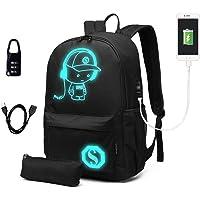 Kono School Backpack Durable 15.6 inch Laptop Rucksack,Waterproof College Anime Luminous Daypack Glow in The Dark (Black…