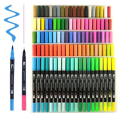 Hethrone Stylos à brosse à double pointe à 100 couleurs avec bordure fine Tip 0.4 PA37