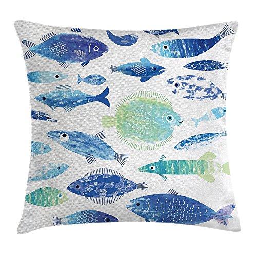 Ocean Tier Decor Werfen Kissenbezug, Handwerker Fisch Muster mit Wave Linien und Sky Cloud Motive Marine Life Bild, dekorative quadratisch Accent Kissen Fall, 45,7x 45,7cm, blau