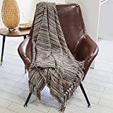 Dozzz Decorative Chenille Thick Couch Throw Blanket with Fringe Cozy Solid Blanket 150*130 cm (Mixed Grey)