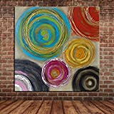 IPLST@ Abstrakte bunte Kreise Ölgemälde Leinwand Kunst, moderne dicke bemalte Wand Wandbild Bild Dekoration für Wohnzimmer Schlafzimmer-24x24inch (kein Rahmen, ohne Bahre)