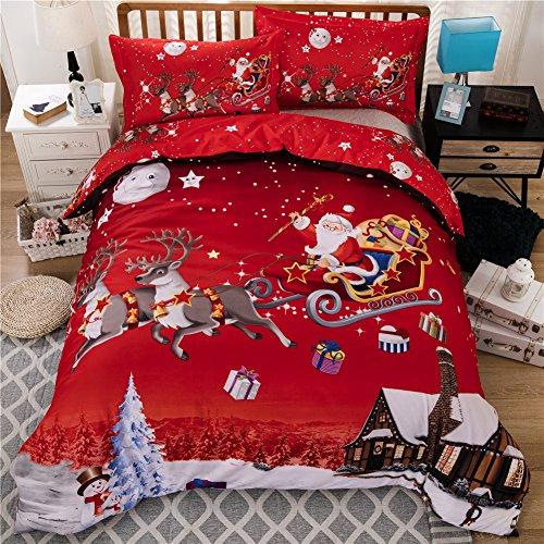 Set da da letto che comprende 1copripiumino e 2federe, con motivo natalizio molto morbido, regalo per Natale, Poliestere, Double(200x200 cm)