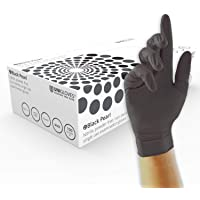 UNIGLOVES GP0032 Pearl Powder Free Nitrile Gloves-Boxed x100, Black, Small, Set of 100