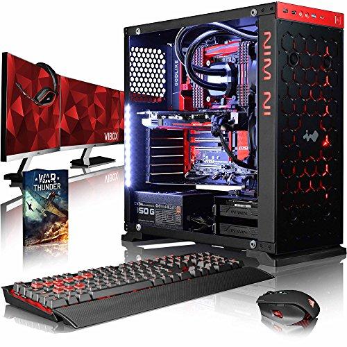 VIBOX Species-X GXR770-61 Pack PC Gamer - 4,0GHz CPU 10-Core i7, GTX 1070, VR prêt, Ordinateur PC de Bureau Gaming avec Watercooling paquet de jeux, avec Écran (3,0GHz (4,0GHz Turbo) Processeur CPU 10 Core Intel Core i7 6950X Broadwell Extreme, Carte Graphique Haute Performance Nvidia GeForce GTX 1070 8 Go, 32 Go RAM Team Vulcan 3000MHz DDR4, HyperX Savage 120GB SSD, Disque Dur 1 To, Ventilateur de processeur PC Liquide Corsair H100i GTX, Pas de Système d'Exploitation Windows)