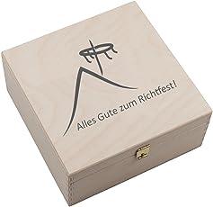 4you Design Hufeisen-Box mit Motiv Alles Gute zum Richtfest (Hausdach und Richtkranz) Geschenkidee Hausbau Glücksgeschenk