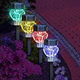 Garden mile® Pack Of 4 colour changing LED Glass Lights Solar Lights LED Solar Lights Garden Outdoor Lighting Garden Ornaments Pathway Lights
