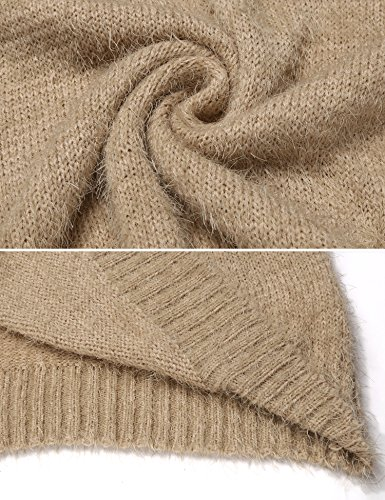 ... Damen Pullover Lang Winter Strickkleid Langarm Pulloverkleid Stretch  Winterkleider Oberteile Beige adc7ab1e2d