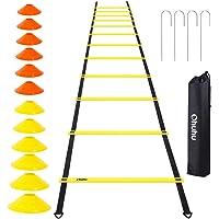 Ohuhu Set di Allenamento e agilità scaletta da12 gradini per la velocità con 12 Coni e 4 paletti, equipaggiamento per…