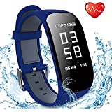 Fitness Tracker, Showyoo New Sport Waterproof Smart Watch with Heart Rate Sleep Monitor Connected GPS Pedometer Calorie Counter for iPhone Android, Blue