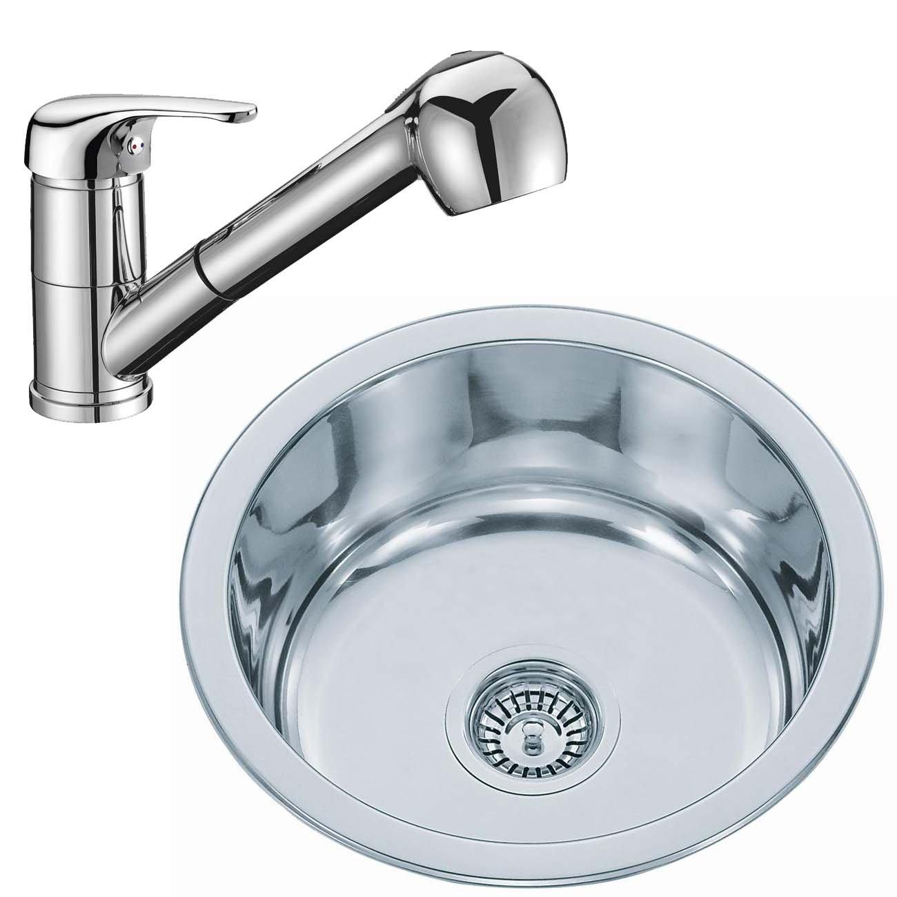 Lavandino da cucina lavello da incasso rotondo in acciaio inox e rubinetto da cucina rubinetto per l
