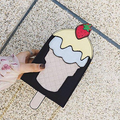 Personalisierte Handtaschen Niedlichen Cartoon-Kreative Eis Eis Schulter Messenger-Tasche Handytasche Schwarz