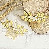 Broche florale pour cheveux avec strass dorés - Accessoires de mariage