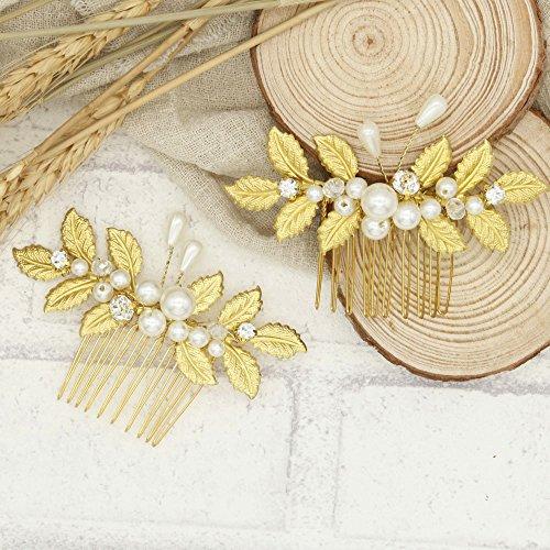 Handmadejewelrylady nuziale foglie pettine fiori oro con strass cristalli  accessori sposa capelli sposa floreale pettine testa 8df368bea7c3