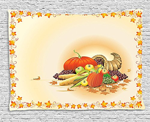 ry, Maple Tree Frame with Rustic Composition for Thanksgiving Halloween Dinner Food, Wall Hanging for Bedroom Living Room Dorm, 80 W X 60 L Inches, Multicolor ()