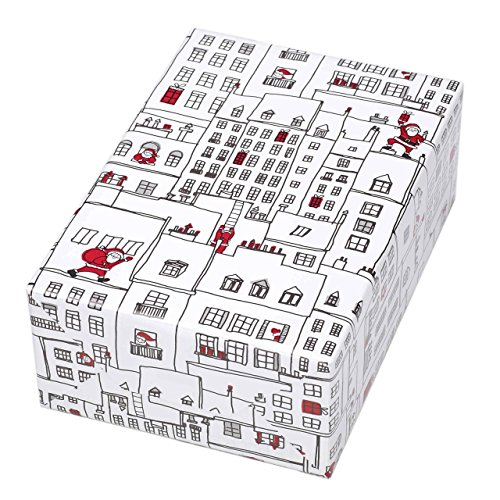 Geschenkpapier Rolle 50 cm x 50 m, Motiv Manhattan, Stadtkulisse mit Weihnachtsmann auf hochglanz-weißlackiertem Papier. Für Weihnachten, Kinder. Weihnachtsgeschenkpapier