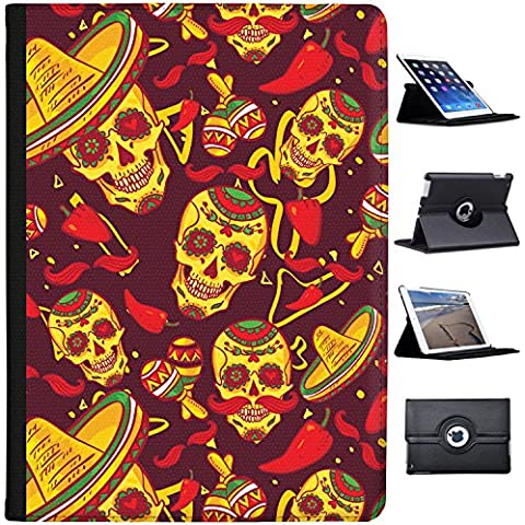 El Dia De Los Muertos Messico Giorno dei Morti Custodia a Libro in finta pelle con funzione di supporto per Apple iPad Tablet nero Skulls In Sombreros & Maracas Apple iPad Pro 12.9