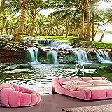Isola di cocco foresta acqua cascata paesaggio paesaggio pittura murale personalizzato grande murale carta da parati verde murale(W)350cmx(H)245cm