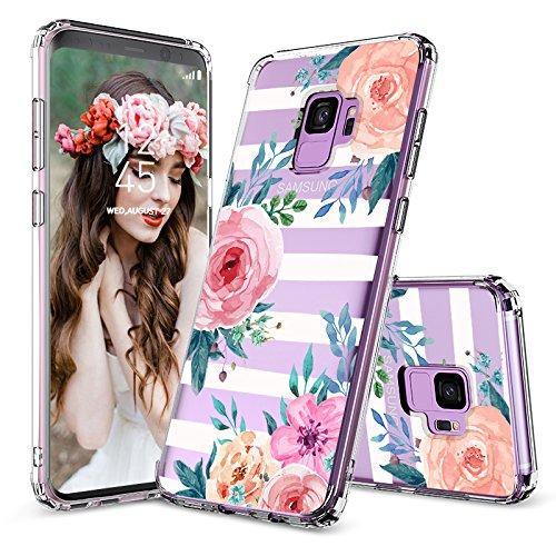 MOSNOVO Galaxy S9 Hülle, Streifen Blumen Muster TPU Bumper mit Hart Plastik Hülle Durchsichtig Schutzhülle Transparent für Samsung Galaxy S9 (Stripes Floral)