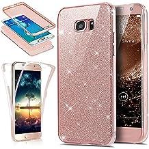 Funda para Galaxy S6 Edge Plus, ikasus [cobertura de protecci 360 de cuerpo entero] cristal transparente 2 en 1 ultrafino con lentejuelas brillantes en la parte de atrás, funda de goma cobertura completa suave de silicona transparente TPU para Samsung Galaxy S6 Edge Plus, oro rosa